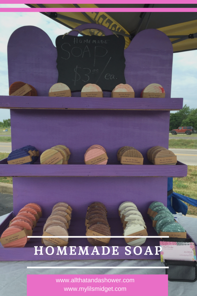A display rack of homemade soap